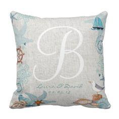 Nautical Beach Wedding Cotton Throw Pillow - Love Throw Pillows
