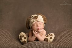 Hey, I found this really awesome Etsy listing at https://www.etsy.com/listing/153612203/crochet-newborn-baby-dog-hat-booties-set