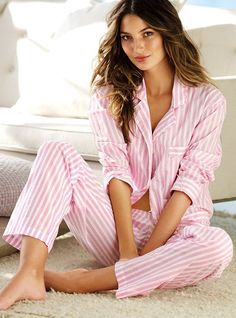 Cotton Mayfair Pajama, pink/white stripe - Victoria's Secret. I wanted these so bad last fall, maybe next year.