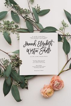 Custom whimsical wedding invitation with modern calligraphy