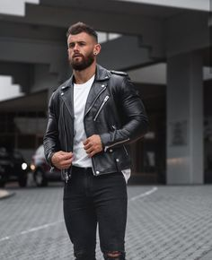 Nathan mccallum, how to dress without colour. new video is up on Leather Jeans Men, Men's Leather Jacket, Leather Jackets, Riders Jacket, Stylish Eve, Dapper Men, Latest Mens Fashion, Hair And Beard Styles, Bearded Men