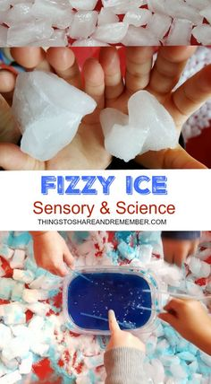 Fizzy Ice Sensory & Science Experiment - Fizzy Ice Sensory & Science Post includes a VIDEO - Preschool Science, Preschool Lessons, Science For Kids, Preschool Winter, Water Theme Preschool, Science Fun, Sensory Activities, Winter Activities, Toddler Activities