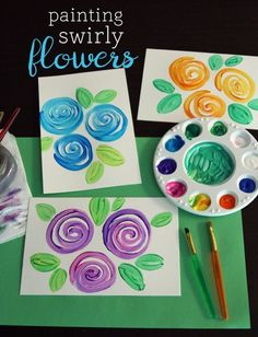Painting Swirly Flowers - lovely art project idea and so easy to make!