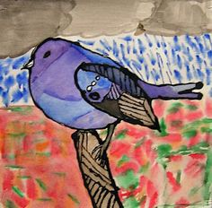 P. C. K. C .S. Art Room in Middle School: Watercolor painting with Black glue outlines
