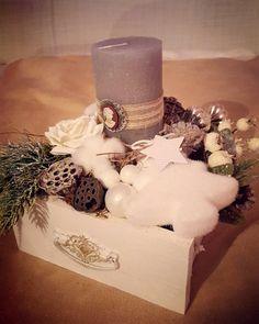 Vintage christmas candlestick in grey-white and natural colors Natural Colors, Candlesticks, Grey And White, Vintage Christmas, Deco, Jewelry, Candle Sticks, Jewlery, Jewels