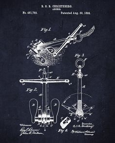 Anchor Patent Wall Art - Nautical Patent Art Prints - Digital Anchor Patent on Navy Blue for Nautical Decor - The Project Cottage - $15