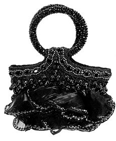 Sale - Designer Beaded Silk & Satin Beaded Ruffle Bag chic beaded bag with handcrafted hand decorated with jet black tones, crystals only $78 on sale