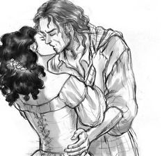 Jamie Fraser and Claire kissing. From Diana Gabaldon's novel Outlander. Illustration by Alex Oliver Claire Fraser, Jamie And Claire, Jamie Fraser, Black And White Drawing, Black And White Pictures, Starz Series, Tv Series, Outlander Fan Art, Outlander Casting