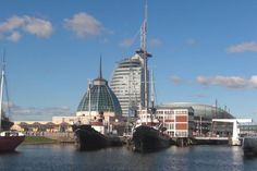 Germany: Bremerhaven Remembering the architecture of old and new with bullet holes in buildings still there from WWII
