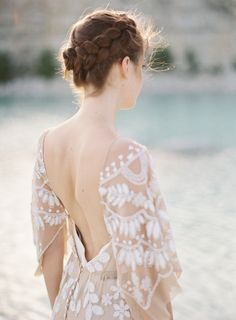 Nude dress with white detailing. Look at that bride.