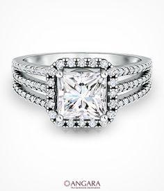 Angara Princess, Round Diamond Halo Triple Shank Ring