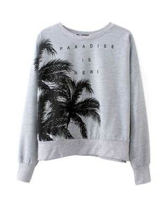 Coconut Tree Print Slim Fit Sweatshirt