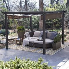 The pergola kits are the easiest and quickest way to build a garden pergola. There are lots of do it yourself pergola kits available to you so that anyone could easily put them together to construct a new structure at their backyard. Diy Pergola, Pergola Canopy, Cheap Pergola, Wooden Pergola, Outdoor Pergola, Pergola Shade, Backyard Patio, Outdoor Decor, Black Pergola