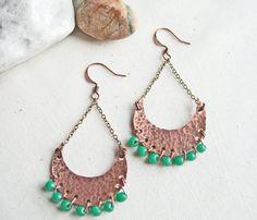 Rustic Copper Earrings Hippie Boho Earrings by LittleMissHaywire