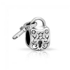 Bling Jewelry Padlock Key 925 Sterling Silver Dangle Bead Pandora Compatible
