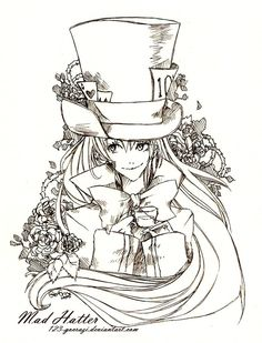 anime wolves coloring pages original mad hatter drawing google search mad hatter 322cde2d1757d0cae7512b7543a856d6