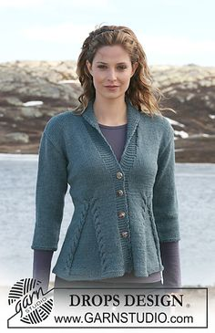 """Ravelry: 115-1 Jacket with cables in """"Karisma"""" with 3/4 or long sleeves pattern by DROPS design -  free pattern"""