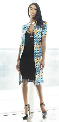 Lynae Mavi coat. Only available on www.stylemeankara.ca ~African fashion, Ankara, kitenge, African women dresses, African prints, African men's fashion, Nigerian style, Ghanaian fashion ~DKK