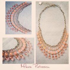 Pink handmade statement necklace