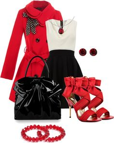 """Red, White & Black"" by corenna-obrien ❤ liked on Polyvore"