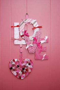 valentine door and wall decor | Mod Podge, Ribbon and cute scrapbook paper can go a long way. I think ...