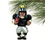 Carolina Panthers Angry Football Player Glass Ornament-