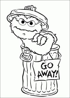"""Coloring page of Oscar and """"Go Away!"""" sign."""