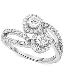 Diamond Two-Stone Bypass Ring (3/4 ct. t.w.) in 14k White Gold