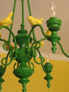 I'm dying to spray paint our cheesy old brass chandelier...John Deere Tractor Green?