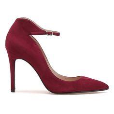 Magrit 'Sofia' burgundy suede ankle strap pumps. Debuted Jan 2017