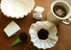 Individual travel coffee bags: One coffee filter pressed into the bottom of a ½ cup.  Add 1 to 2 Tbls coffee grounds. Use dental floss, to secure bundle, trim off excess & tie into a knot. Store coffee packs in sealed baggie to keep fresh. Store with your camping gear.  Using the travel coffee bags; To make a fresh cup of coffee, use the packs like tea bags.