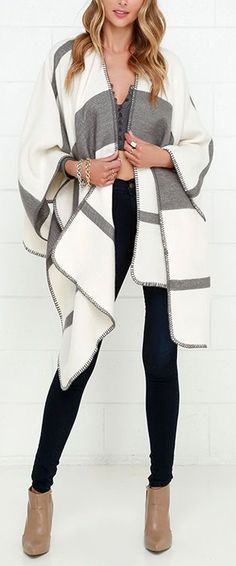 Grey and Ivory Striped Poncho ==