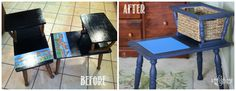 Vintage telephone table ReStyled into a Lego table.  Painted in #GeneralFinishes #CoastalBlue with a black glaze.  See more tips & techniques at http://www.highstylerestyle.com/.
