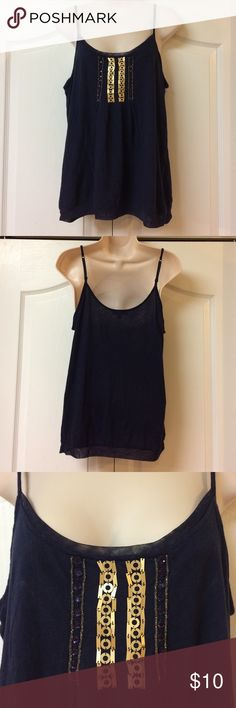 Express tank Beautiful lightweight Express tank. Beaded detail on front and mesh lace detail along neckline on front and along hem all around. Partly adjustable straps. 60% cotton 40% modal. Pre loved in good condition! Express Tops Camisoles