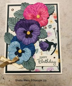 Homemade Birthday Cards, Homemade Cards, Stampin Up Catalog, Stamping Up Cards, Pretty Cards, Baby Cards, Flower Cards, Potpourri, Pansies