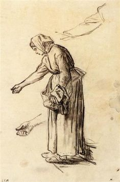 Study for a Woman Feeding Chickens, 1859 by Jean-Francois Millet. Realism. sketch and study. Private Collection
