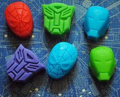 6 x Superhero Soap  Transformer Spiderman Iron Man by NerdySoap