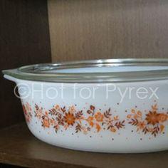 RARE Tangerine Floral Pyrex 045