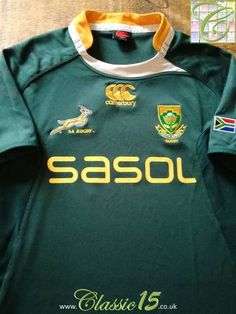 Official Canterbury South Africa home pro-fit rugby shirt from the international season. Vintage Rugby Shirts, Rugby Kit, South Africa Rugby, Canterbury, Recovery, Training, Store, Sweatshirts, Classic