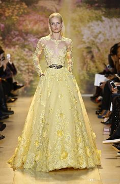 Wholesale 2014 Stunning Zuhair Murad Sheer Evening Dresses Jewel Neckline Long Sleeve Yellow Lace Appliques Handmade Flower Chapel Train Prom Gowns, Free shipping, $158.49/Piece | DHgate Mobile