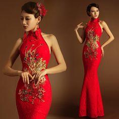 Rouge pour la mariée robe de soirée licol col de dentelle en queue de poisson nageur cheongsam robe de