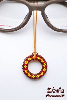 handmade in #Italy #spec-holder #necklace Occhiondolo Etnic #red and #yellow