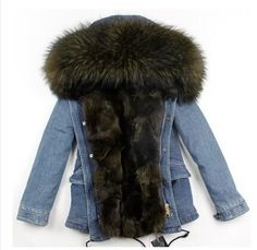 MAOMAOKONG new Cold winter jacket coat women real fur coat Real fox fur liner hooded thick warm short denim Parkas