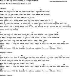 Song Build Me Up Buttercup by Temptations, with lyrics for vocal performance and accompaniment chords for Ukulele, Guitar Banjo etc.