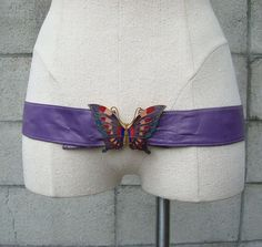 Cloisonne Butterfly Belt Leather Purple by purevintageclothing