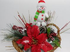 Christmas Arrangement, Christmas Basket, Christmas Snowman Basket, Festive Holiday Basket, Red Poinsettias, Table Arrangement, Pinecones by BeautifulHomeAccents on Etsy