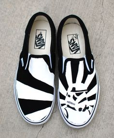 These one-of-a-kind hand-painted Vans Slip ons Feature a black and white storm trooper on one shoe and the rising sun behind him. The back of the shoes say STORMTROOPER ITZAJADET. This image is made-t Star Wars Vans, Star Wars Shoes, Painted Vans, Hand Painted Shoes, Sharpie Shoes, Custom Vans Shoes, Tenis Vans, Grave, Star Wars Gifts