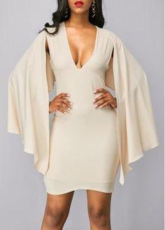 rotita.com - unsigned Beige Deep V Neck Cape Shoulder Dress - AdoreWe.com