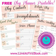 Free Blog Planner Printables via @Christina Childress Childress & Scaglione - Love at First Book