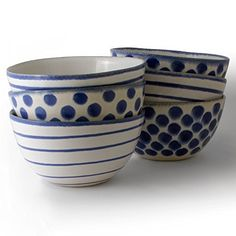 """These lightweight and sturdy stoneware bowls will provide a striking and one-of-a-kind accent to the dinnerware in any home or event. This set includes three bowls with blue dots and three with blue lines. Perfect Dimensions The bowls are 6"""" in diameter and 3 1/8"""" tall. They hold... see more details at https://bestselleroutlets.com/home-kitchen/kitchen-dining/dining-entertaining/bowls/cereal-bowls/product-review-for-handmade-6-inch16-oz-ceramic-stoneware-soup-or-cer"""